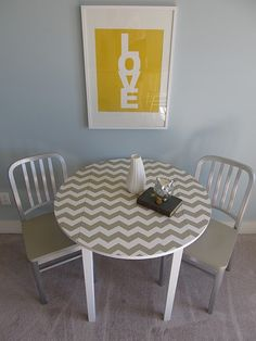 citron gray. what a cute little cafe table setting!