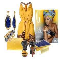 """""""African safari!!"""" by littlefeather1 ❤ liked on Polyvore featuring BCBGMAXAZRIA, Hunting Season, Lanvin, Sara Weinstock, Isharya and Kelly Wearstler"""