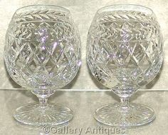 Pair of Crystal Cut Glass Brandy goblets Glasses similar to Stuart Cheltenham Pattern diamond and laurel leaf cut design c.1990's (ref 4033)