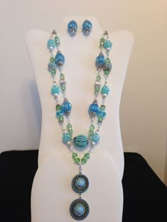 2 Strand Necklace and Earrings Made with by JewelryWorksbyCarol, $45.00