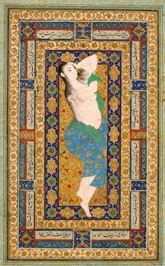 A Young Lady Reclining After a Bath, Leaf from the Read Persian Album. Mughal Paintings, Islamic Paintings, Big Wall Art, Persian Motifs, Iranian Art, Arabic Art, Historical Art, Sacred Art, Ancient Art
