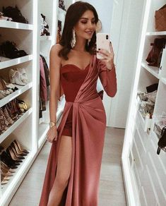 Sweetheart One Sleeve Side Slit Long Prom Dresses,, Shop plus-sized prom dresses for curvy figures and plus-size party dresses. Ball gowns for prom in plus sizes and short plus-sized prom dresses for Elegant Dresses For Women, Pretty Dresses, Sexy Dresses, Beautiful Dresses, Short Dresses, Sexy Long Dress, Dance Dresses, Casual Dresses, Backless Dresses