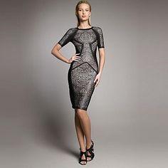 Sheath Round Neck Mid-length Sleeves Printed Short Bandage Dress Bodycon Dress