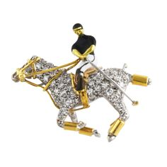 English Equestrian Enamel Diamond Pin by A&W Equestrian Chic, Equestrian Jewelry, Horse Jewelry, Art Deco Jewelry, Animal Jewelry, I Love Jewelry, High Jewelry, Pearl Brooch, Vintage Brooches
