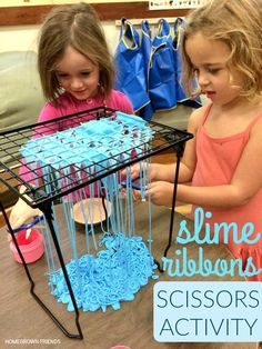 Slime Ribbons Scissors Activity for fun preschool sensory processing - also for fine motor development