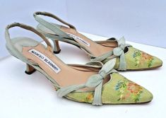Manolo Blahnik Slingback Pump Kitten Low Heel Green Floral Tapestry Blue Suede 5 in Clothing, Shoes & Accessories, Women's Shoes, Heels Shoe Department, Unique Shoes, Green Shoes, Slingback Pump, Manolo Blahnik, Beautiful Shoes, Low Heels, Blue Suede, Me Too Shoes