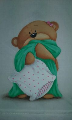 Pintura en tela. Facebook.com/conmismanos.lillo Good Night Meme, Cartoon Charecters, Teddy Bear Pictures, Blue Nose Friends, Bear Wallpaper, Country Paintings, Country Art, Pretty Cards, Fabric Painting
