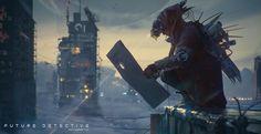 Future Detective by Tadeusz Chmiel, Platige's Image Artist. Art Timeline, 12 November, Robot Concept Art, List Of Artists, Image Of The Day, Cyberpunk Art, Inspirational Artwork, Sci Fi Art, Texture Art