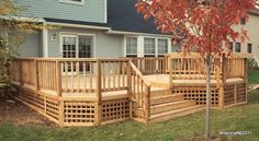 lattice underpinnings | Cedar Deck with Square Lattice Skirt