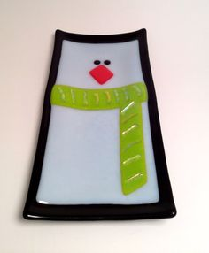 Penguin fused glass dish by SparksPainInTheGlass on Etsy, $32.00