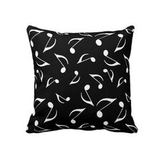 Reversible Musical Notes Throw Pillow