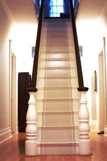 painted stairs with painted runner--back staircase Painted Staircases, Painted Stairs, Painted Floors, Painted Wood, Staircase Runner, Staircase Ideas, Hallway Ideas, Staircase Railings, Banisters