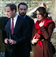 Prince William and Kate Middleton attended family Eucharist and Christmas Carols at St Marks Church, Englefield, Berkshire.