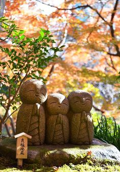 Three jizo - 地蔵  Jizo are bodhisattva who looks over children, travellers and the underworld