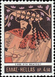 Sello: 2500 Years Theatre - Dionyssos dancing (Grecia) Anniversary Of Greek Theatre) Mi:GR 1017