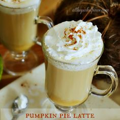 Pumpkin Pie Latte - @Heather Creswell Creswell Creswell Logan this is the best recipe I've found.  It's delicious as it is, but I make a few changes just to suit my tastes. - I substitute 1/2 of the half & half with vanilla almond milk (unsweetened) and eliminate the vanilla.  I also eliminate the sugar....the whipped cream and the pumpkin puree make it sweet enough for me.