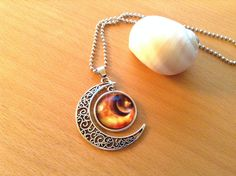 Alloy Hollow Moon Necklace