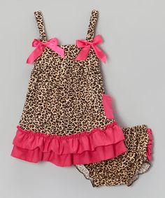 Loving this Brown & Hot Pink Leopard Ruffle Swing Top & Diaper Cover - Infant on #zulily! #zulilyfinds