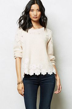Mashup a t-shirt, cotton sweater or lightweight sweatshirt with crochet motifs! Crocheted Pullover #anthropologie