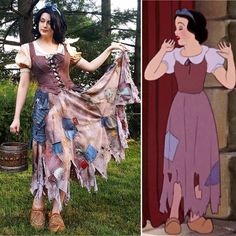 With a smile & a song! Snow White Rags Dress🕊 Redesign/cosplay b Disney Princess Cosplay, Disney Cosplay, Disney Costumes, Girl Costumes, Halloween Costumes, Halloween Ideas, Snow White Cosplay, Snow White Costume, Dwarf Costume
