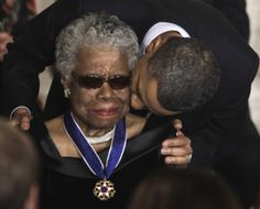 Maya Angelou is shown gratitude by President Barack Obama after receiving the Medal of Freedom.