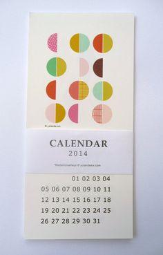 2014 Geometric Calendar  wall calendar  10x21cm  by mademoiselleyo, $17.00