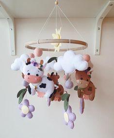 Cow Nursery, Nursery Decor, Winnie The Pooh Christmas, Crib Toys, Baby Shower Photos, Farmhouse Style Decorating, Felt Ball, Felt Toys, Hand Sewn