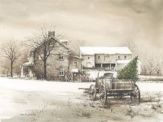 John Rossini - Bringing Home The Tree - Complete colection of art, limited editions, prints, posters and custom framing on sale now at Prints. Christmas Scenes, Christmas Pictures, Christmas Ideas, Christmas Time, Christmas Artwork, Christmas Paintings, Christmas Stuff, Merry Christmas, Christmas Decorations