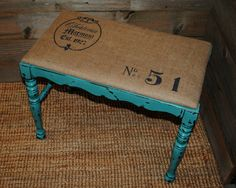 Burlap Stenciled Bench Painted with CeCe Caldwell Destin Gulf Green.