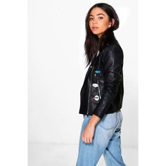 Boohoo Boutique Ruby Badged Biker Faux Leather Jacket | Boohoo (£45) ❤ liked on Polyvore featuring outerwear, jackets, white faux leather jacket, biker style jacket, vegan leather jacket, white jacket and faux leather jacket