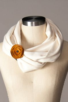Cotton interlock infinity scarf with our new Leather Poppy Scarf Cuff. So  perfect for Fall 83f6ae46d8c