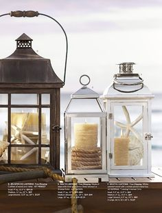 summer lantern filler ideas like the rope around the candle...nautical feel!