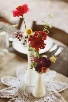 pretty milk glass floral arrangements   wedding chicks + photographix.