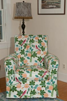 fabric for slipcovers | The two photos at right show how a gathered skirt can create a unique ...