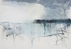 Hannah Woodman Rain Passing, Headland mixed media Pencil, oil and gesso on paper 15 x ins x 57 cms) Watercolor Landscape, Abstract Watercolor, Abstract Landscape, Painting Courses, Art Courses, Seascape Paintings, Landscape Paintings, Landscapes, Cool Abstract Art