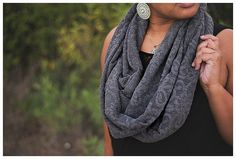 Hand made and measuring 44 inches hanging, this scarf is very beautiful and features a wonderful floral detail that blends in yet subtly stands out on the fabric. Wear it long or doubled in half (as shown) for a cute Fall and Winter look! Winter Looks, Headbands, Etsy Shop, Knitting, Detail, Fall, Crochet, Floral, Fabric