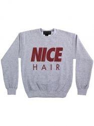 NICE HAIR - SWEATSHIRT - HEATHER GREY W/MAROON