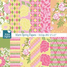Warm Spring Digital Papers - 2 beautiful and feminine digital scrapbooking papers in high resolution. This Warm Spring Digital Papers set is suitable for  scrapbook, card design, invitation making, stickers, jewelry, paper crafts, web design, and a lot more.