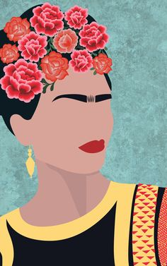 This unique wall mural depicting the amazing artist Frida Kahlo will act as a great inspiration for anyone needing the encouragement to achieve your dreams and be successful strong and creative. This stylish wallpaper features a minimalist illustration of Mural Floral, Flower Mural, Pop Art, Frida Kahlo Portraits, Frida Art, Illustration Art, Illustrations, Iphone Wallpaper, Wallpaper Murals