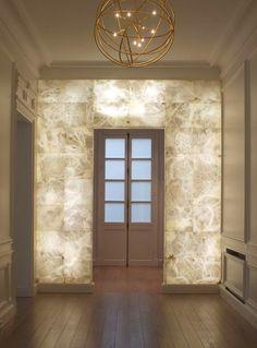 Wow factor- An illuminated quartz wall.