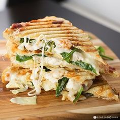 If you like Artichoke Spinach Dip you are going to love this Spinach & Artichoke Panini with grilled chicken marinated artichoke hearts baby spinach garlic spread and melty mozzarella cheese grilled to perfection! I Love Food, Good Food, Yummy Food, Vegetarian Recipes, Cooking Recipes, Healthy Recipes, Vegetarian Sandwiches, Vegetarian Diets, Going Vegetarian