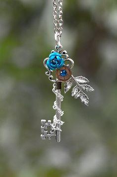 Blue Winter Rose Key Necklace by KeypersCove on Etsy, $30.00
