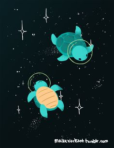 maikevierkant: Space Turtles who rejected suits 'cause shells. Space Bunnies Space Foxes Space Koalas Space Piggies