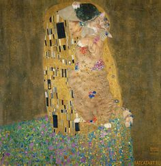 Gustav Klimt's The Kiss with kitty.