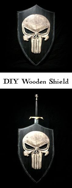 How to make a wooden shield with a stylized Punisher skull on it