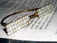 Vintage rhinestone jewelry finding brass  supplies  double bar
