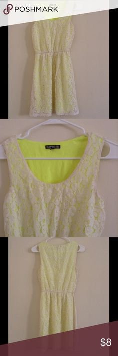 EXPRESS White Neon Green Dress XS Lace dress with lime green linings. Express Dresses