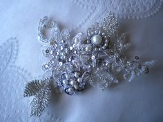 Unique Vintage hand made and embellish lace hair accessory