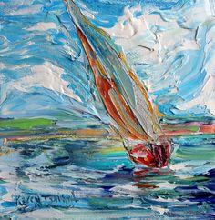 Original oil painting Sailing Away Boat palette knife abstract impressionism fine art impasto on canvas by Karen Tarlton Beach Illustration, Sailboat Art, Portrait Paintings, Abstract Portrait, Painting Abstract, Acrylic Paintings, Art Paintings, Boat Painting, Modern Impressionism
