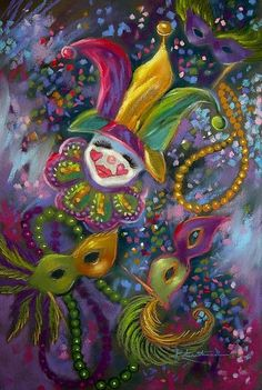 "Art '""Mardi Gras"" ~ SOLD' - by Patricia Lee Christensen from Whimsical New Orleans Art, New Orleans Mardi Gras, Mardi Gras Beads, Mardi Gras Party, Clowns, Louisiana Art, Mardi Gras Decorations, Art Portfolio, Illustrations"
